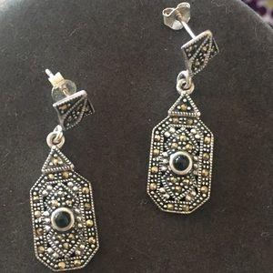 925 Silver Marcasite & Onyx Dangle Earrings